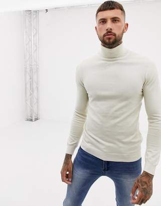 Pull&Bear roll neck sweater in cream