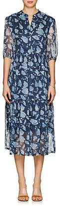 Raquel Allegra Women's Floral Silk Tiered Midi-Dress