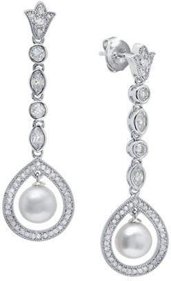 Crislu ANDREW PRINCE BY 7MM White Freshwater Pearl Cluster Drop Earrings