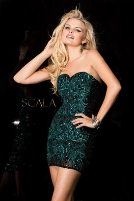 SCALA - 48560 Dress In Black Teal $198 thestylecure.com