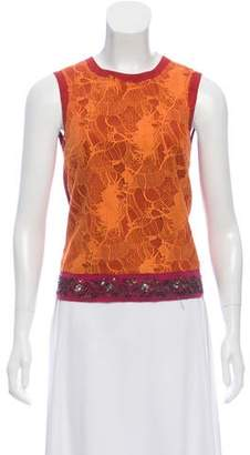 Dries Van Noten Lace-Accented Sleeveless Top