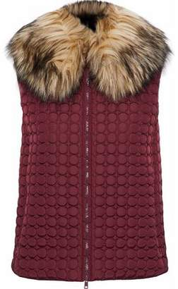 RED Valentino Faux Fur Trimmed Quilted Shell Vest