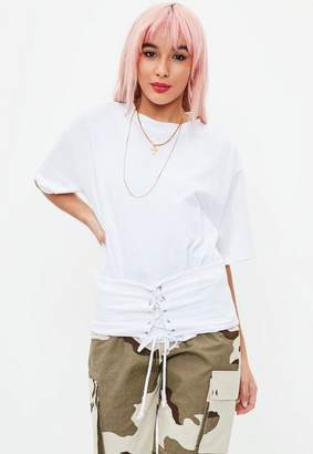 Missguided White Corest Detail Jersey Top