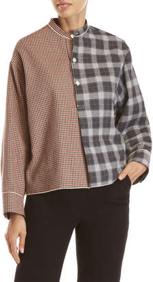 Avn Houndstooth & Plaid Pieced Flannel Henley