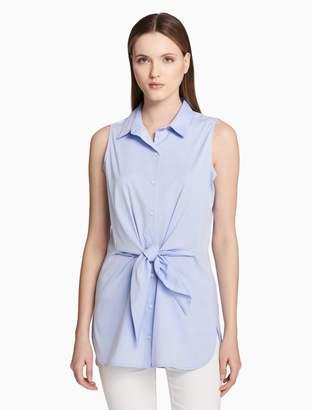 Calvin Klein tie front sleeveless blouse