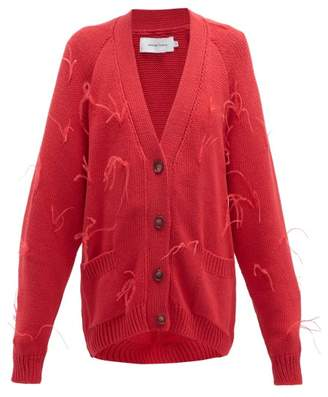Marques Almeida Marques'almeida - Ostrich Feather Trim Cotton Cardigan - Womens - Red