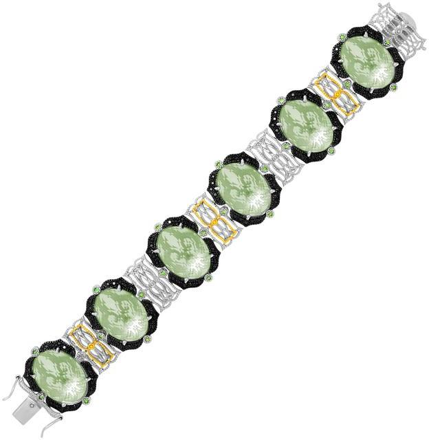 Ice 18K Yellow Gold & Sterling Silver Amethyst Tsavorite & Diamond Accented Bracelet