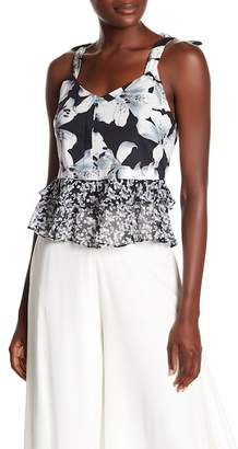 Nicole Miller Hibiscus Canopy Ruffled Mixed Media Tank