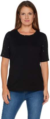 Factory Quacker Essentials Sparkle Elbow Sleeve Knit T-shirt