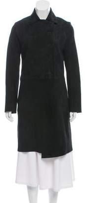 Helmut Lang Suede Knee-Length Coat