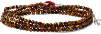 Isaia Saracino Tiger's Eye And Sterling Silver Beaded Wrap Bracelet