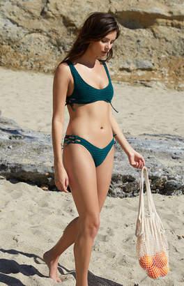 La Hearts Salero Swim Lace-Up Cropped Bikini Top