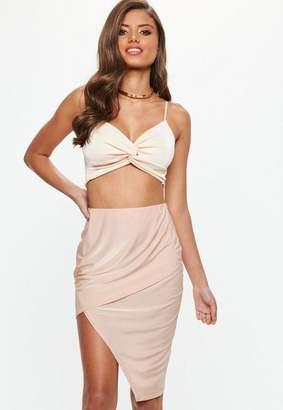 Missguided Nude Asymmetric Slinky Midi Skirt