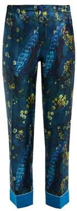 F.R.S For Restless Sleepers F.R.S – For Restless Sleepers Etere Peacock Print Silk Trousers - Womens - Blue Multi
