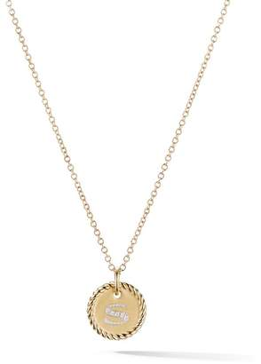 David Yurman 18kt yellow gold Cable Collectibles diamond S initial pendant necklace
