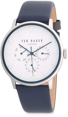 Ted Baker Men's Stainless Steel Chronograph Leather-Strap Watch