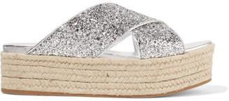Miu Miu Glittered Leather Espadrille Platform Sandals - Silver