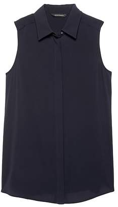 Banana Republic Petite LIFE IN MOTION Parker Tunic-Fit Washable Silk Sleeveless Shirt with Crossover Back