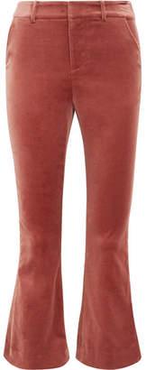 Frame Cropped Cotton-blend Velvet Flared Pants - Brick