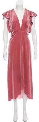 MISA Los Angeles Velvet Maxi Ruffled Wrap Dress w/ Tags