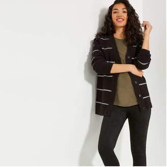 Joe Fresh Women's Stripe Cardi, Black (Size XL)
