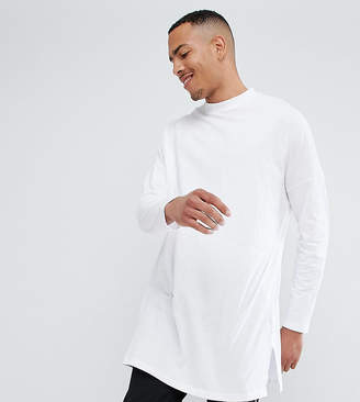 Asos Design Tall Extreme Oversized Long Sleeve T-Shirt With Side Splits In White