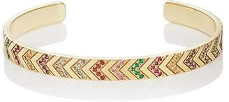 Ambre Victoria Women's Mixed-Gemstone Chevron-Engraved Cuff