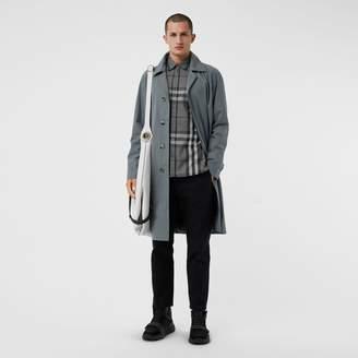 Burberry Check Stretch Cotton Shirt , Size: L, Grey