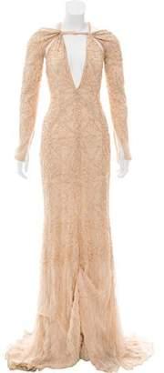 Bibhu Mohapatra Embellished Cold-Shoulder Maxi Gown