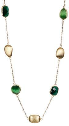 Rivka Friedman Eye Green & Dark Green Crystal Pebble Faceted Satin Necklace