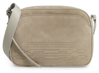 Allsaints Cooper Nubuck Leather Shoulder Bag - Grey $278 thestylecure.com