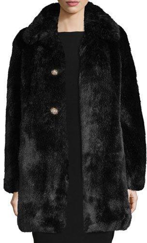 Kate SpadeKate Spade New York Faux-Fur Two-Button Coat W/ Rhinestones, Black