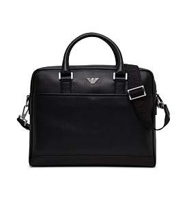 Emporio Armani New Fast Stamped Leather Single Zip Briefcase