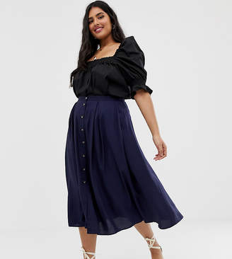 Asos DESIGN Curve button front floaty midi skirt with pleats