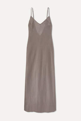 Pour Les Femmes - Cotton And Silk-blend Nightdress - Gray