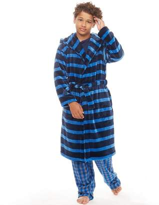 Kangaroo Poo Boys Hooded Robe Navy/Royal Stripe