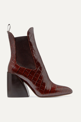 Chloé Wave Croc-effect Leather Ankle Boots - Dark brown