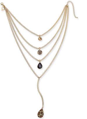 """Thalia Sodi Gold-Tone Multi-Layer Stone & Leopard Pave 16-1/2"""" Statement Necklace"""