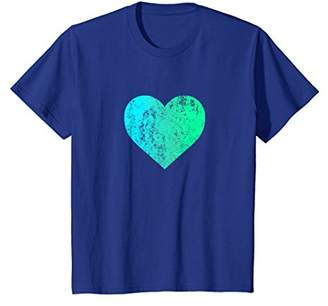 DAY Birger et Mikkelsen I Love You Teal Heart Distressed Valentine's T Shirt