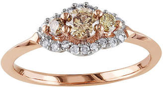JCPenney MODERN BRIDE 1/2 CT. T.W. White and Champagne Diamond Rose Gold Ring