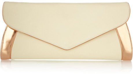 See by Chloe Anna oversized leather and metallic patent-leather clutch