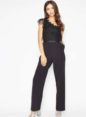 Miss Selfridge Black one shoulder jumpsuit