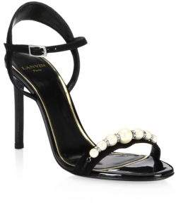 Lanvin Pearl& Crystal Strappy Sandals