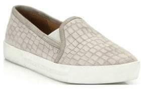 Joie Huxley Croc-Embossed Suede Skate Sneakers