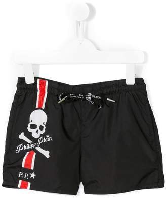 Philipp Plein Junior skull print swim shorts