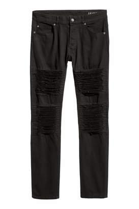 H&M Trashed Skinny Jeans - Black - Men