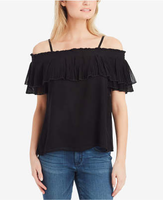 Jessica Simpson Juniors' Chris Pleated-Ruffle Off-The-Shoulder Top