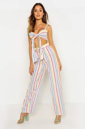 0c10aa2978bd boohoo Linen Stripe Belted High Waist Wide Leg Trouser