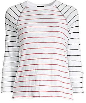 ATM Anthony Thomas Melillo Women's Slub Jersey Stripe Raglan Sleeve Tee
