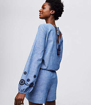 LOFT Beach Embroidered Chambray Wrap Romper